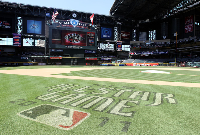 PHOENIX, AZ - JULY 09:  Detail of the MLB All-Star game logo on the field at Chase Field on July 9, 2011 in Phoenix, Arizona.  The 2011 MLB All-Star game will be held on July 12, at Chase Field.  (Photo by Christian Petersen/Getty Images)