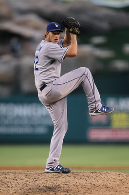 ANAHEIM, CA - JULY 02:  Clayton Kershaw #22 of the Los Angeles Dodgers pitches against the Los Angeles Angels of Anaheim at Angel Stadium of Anaheim on July 2, 2011 in Anaheim, California.  (Photo by Jeff Gross/Getty Images)