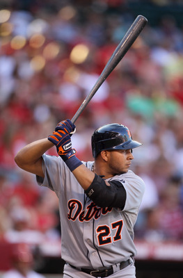 ANAHEIM, CA - JULY 04:  Jhonny Peralta #27 of the Detroit Tigers bats against the Los Angeles Angels of Anaheim at Angel Stadium of Anaheim on July 4, 2011 in Anaheim, California.  (Photo by Jeff Gross/Getty Images)