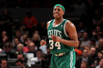 NEW YORK, NY - APRIL 22:  Paul Pierce #34 of the Boston Celtics reacts against the New York Knicks in Game Three of the Eastern Conference Quarterfinals in the 2011 NBA Playoffs on April 22, 2011 at Madison Square Garden in New York City.  NOTE TO USER: U