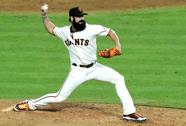 PHOENIX, AZ - JULY 12:  National League All-Star Brian Wilson #38 of the San Francisco Giants pitches in the ninth inning of the 82nd MLB All-Star Game at Chase Field on July 12, 2011 in Phoenix, Arizona.  (Photo by Norm Hall/Getty Images)