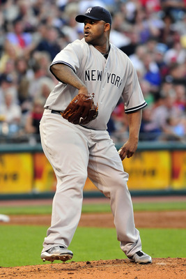 CLEVELAND, OH - JULY 5: Starting pitcher CC Sabathia #52 of the New York Yankees pitches during the third inning against the Cleveland Indians at Progressive Field on July 5, 2011 in Cleveland, Ohio. (Photo by Jason Miller/Getty Images)