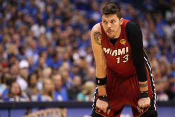 DALLAS, TX - JUNE 07:  Mike Miller #13 of the Miami Heat looks on against the Dallas Mavericks in the first quarter of Game Four of the 2011 NBA Finals at American Airlines Center on June 7, 2011 in Dallas, Texas. NOTE TO USER: User expressly acknowledges