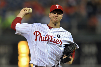 PHILADELPHIA, PA - JULY 08: Starting pitcher Roy Halladay #34 of the Philadelphia Phillies delivers a pitch during the game against the Atlanta Braves at Citizens Bank Park on July 8, 2011 in Philadelphia, Pennsylvania. (Photo by Drew Hallowell/Getty Imag