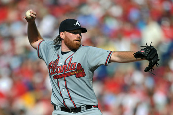PHILADELPHIA, PA - JULY 09: Starting pitcher Tommy Hanson #48 of the Atlanta Braves throws a pitch during the game against the Philadelphia Phillies at Citizens Bank Park on July 9, 2011 in Philadelphia, Pennsylvania. The Braves won 4-1. (Photo by Drew Ha