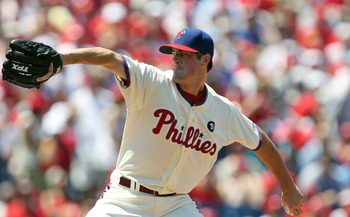 PHILADELPHIA - JULY 10: Starting pitcher Cole Hamels #35 of the Philadelphia Phillies throws a pitch during a game against the Atlanta Braves at Citizens Bank Park on July 10, 2011 in Philadelphia, Pennsylvania. (Photo by Hunter Martin/Getty Images)