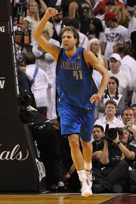 MIAMI, FL - JUNE 12:  Dirk Nowitzki #41 of the Dallas Mavericks celebrates while taking on the Miami Heat in the fourth quarter in Game Six of the 2011 NBA Finals at American Airlines Arena on June 12, 2011 in Miami, Florida. The Mavericks won 105-95. NOT