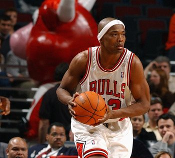 CHICAGO - FEBRUARY 25:  Corie Blount #43 of the Chicago Bulls holds the ball during the game against the Detroit Pistons on February 25, 2004 at the United Center in Chicago, Illinois. The Pistons won 107-88. NOTE TO USER: User expressly acknowledges and