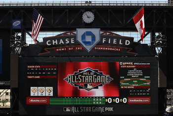 PHOENIX, AZ - JULY 09:  Detail of the scoreboard at Chase Field on July 9, 2011 in Phoenix, Arizona.  The 2011 MLB All-Star game will be held on July 12, at Chase Field.  (Photo by Christian Petersen/Getty Images)
