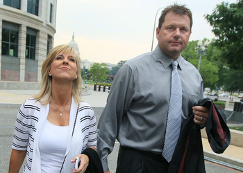 WASHINGTON, DC - JULY 06:  Baseball pitching star Roger Clemens and his wife Debbie arrive at the U.S. District Court on July 6, 2010 in Washington, DC. Seven-time Cy Young Award winner Clemens is on trial for making false statements, perjury and obstruct