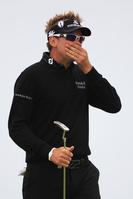 SANDWICH, ENGLAND - JULY 12:  Ian Poulter of England looks on during the second practice round during The Open Championship at Royal St. George's on July 12, 2011 in Sandwich, England. The 140th Open begins on July 14, 2011.  (Photo by Streeter Lecka/Gett