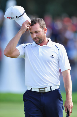 MUNICH, GERMANY - JUNE 26:  Sergio Garcia of Spain ponders his missed putt during the playoff against Pablo Larrazabal of Spain after the final round of the BMW International Open at Golfclub Munchen Eichenried on June 26, 2011 in Munich, Germany.  (Photo