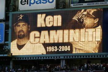 HOUSTON - OCTOBER 15:  The Houston Astros remember and pay tribute to Ken Caminiti before the start of game three of National League Championship Series against the St. Louis Cardinals during the 2004 Major League Baseball Playoffs on October 16, 2004 at