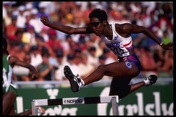 Aug 1995:  Kim Batten of the USA in action during the women's 400m hurdles at the 1995 IAAF World Track and Field Championships at Ullevi Stadium in Gothenburg, Sweden.  Mandatory Credit:  Clive Brunskill/Allsport