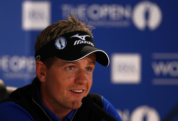 SANDWICH, ENGLAND - JULY 12:  Luke Donald of England answers questions at a press conference during the second practice round during The Open Championship at Royal St. George's on July 12, 2011 in Sandwich, England. The 140th Open begins on July 14, 2011.