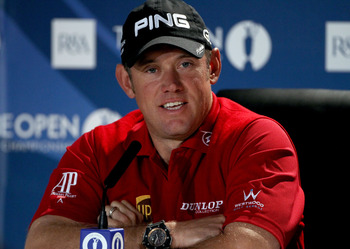 SANDWICH, ENGLAND - JULY 12:  Lee Westwood of England answers questions at a press conference during the second practice round during The Open Championship at Royal St. George's on July 12, 2011 in Sandwich, England. The 140th Open begins on July 14, 2011