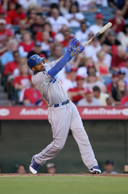 ANAHEIM, CA - JULY 02:  Matt Kemp #27 of the Los Angeles Dodgers bats against the Los Angeles Angels of Anaheim at Angel Stadium of Anaheim on July 2, 2011 in Anaheim, California.  (Photo by Jeff Gross/Getty Images)