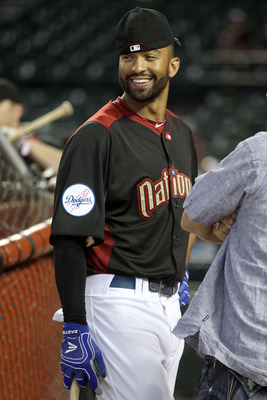 PHOENIX, AZ - JULY 12:  National League All-Star Matt Kemp #27 of the Los Angeles Dodgers looks on during batting practice before the start of the 82nd MLB All-Star Game at Chase Field on July 12, 2011 in Phoenix, Arizona.  (Photo by Christian Petersen/Ge