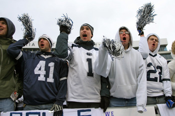 STATE COLLEGE, PA - NOVEMBER 27: Penn State Nittany Lion fans cheer during a game against the Michigan State Spartans on November 27, 2010 at Beaver Stadium in State College, Pennsylvania. The Spartans won 28-22. (Photo by Hunter Martin/Getty Images)