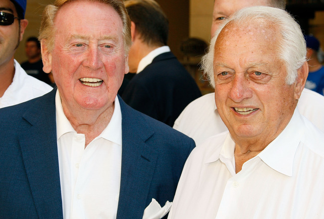 HOLLYWOOD - JUNE 20:  Dodgers radio announcer Vin Scully and former manager Tommy Lasorda attend a special star ceremony honoring the Los Angeles Dodgers with an Award of Excellence on the Hollywood Walk of Fame on June 20, 2008 in Hollywood, California.