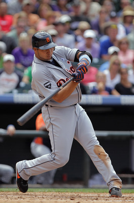 DENVER, CO - JUNE 19:  Shortstop Jhonny Peralta #27 of the Detroit Tigers takes an at bat against the Colorado Rockies at Coors Field on June 19, 2011 in Denver, Colorado. The Tigers defeated the Rockies 9-1.  (Photo by Doug Pensinger/Getty Images)