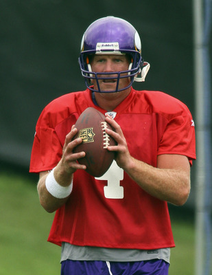 EDEN PRAIRIE, MN - AUGUST 18: Quarterback Brett Favre #4 of the Minnesota Vikings participates in his first morning practice since returning to Vikings Winter Park on August 18, 2010 in Eden Prairie, Minnesota. Favre injured his ankle last year and had be