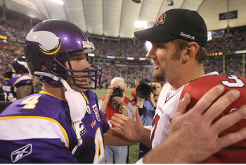 MINNEAPOLIS - NOVEMBER 07:  Quarterback Brett Favre #4 of the Minnesota Vikings greets quarterback Derek Anderson #3 of the Arizona Cardinals after the game at Hubert H. Humphrey Metrodome on November 7, 2010 in Minneapolis, Minnesota.  The Vikings won 27