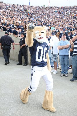 PROVO, UT - SEPTEMBER 19:  Cosmo the mascot of Brigham Young University Cougars gets the fans going before the game against the Florida State Seminoles at La Vell Edwards Stadium on September 19, 2009 in Provo, Utah.  (Photo by Melissa Majchrzak via Getty
