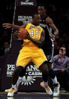 LOS ANGELES, CA - NOVEMBER 02:  Derrick Caracter #45 of the Los Angeles Lakers plays against the Memphis Grizzlies during the game at Staples Center on November 2, 2010 in Los Angeles, California. NOTE TO USER: User expressly acknowledges and agrees that,