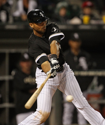 CHICAGO, IL - JUNE 10:  Alex Rios #51 of the Chicago White Sox hits the ball against the Oakland Athletics at U.S. Cellular Field on June 10, 2011 in Chicago, Illinois. The Athletics defeated the White Sox 7-5.  (Photo by Jonathan Daniel/Getty Images)
