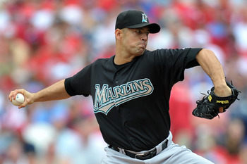 PHILADELPHIA, PA - JUNE 16: Starting pitcher Javier Vazquez #23 of the Florida Marlins delivers a pitch during the game against the Philadelphia Phillies at Citizens Bank Park on June 16, 2011 in Philadelphia, Pennsylvania. The Phillies won 3-0. (Photo by