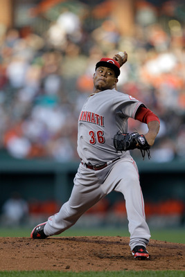 BALTIMORE, MD - JUNE 24:  Starting pitcher Edinson Volquez #36 of the Cincinnati Reds in action against the Baltimore Orioles at Oriole Park at Camden Yards on June 24, 2011 in Baltimore, Maryland.  (Photo by Rob Carr/Getty Images)