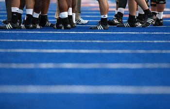 BOISE , ID - SEPTEMBER 13: A general view of players cleets on the blue turf during the game between Boise State Broncos and Bowling Green Falcons at Bronco Stadium on September 13, 2008 in Boise, Idaho. (Photo by Jonathan Ferrey/Getty Images)