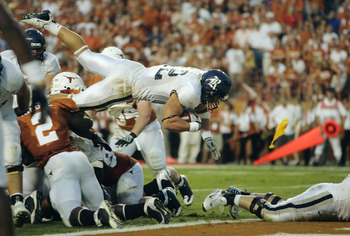AUSTIN, TX - SEPTEMBER 20: Tight end James Casey #12 of the Rice Owls has his touchdown called back because of a false start by the guard against the Texas Longhorns in the second quarter on September 20, 2008 at Darrell K Royal-Texas Memorial Stadium in