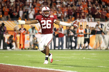 MIAMI, FL - JANUARY 03: Delano Howell #26 of the Stanford Cardinal reacts after he intercepted a pass against the Virginia Tech Hokies during the 2011 Discover Orange Bowl at Sun Life Stadium on January 3, 2011 in Miami, Florida. (Photo by Streeter Lecka/