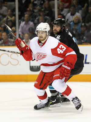 SAN JOSE, CA - MAY 12:  Darren Helm #43 of the Detroit Red Wings in action against the San Jose Sharks in Game Seven of the Western Conference Semifinals during the 2011 NHL Stanley Cup Playoffs at HP Pavilion on May 12, 2011 in San Jose, California.  (Ph