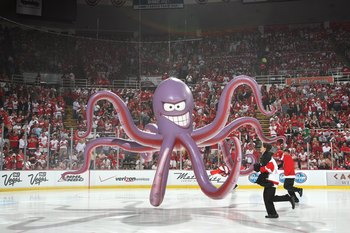 DETROIT - JUNE 12: A general view of the giant inflated Octopus on the ice taken before the Game Seven of the 2009 NHL Stanley Cup Finals between the Pittsburgh Penguins and the Detroit Red Wings at Joe Louis Arena on June 12, 2009 in Detroit, Michigan. (