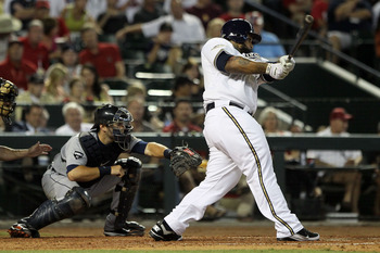 PHOENIX, AZ - JULY 12:  National League All-Star Prince Fielder #28 of the Milwaukee Brewers hits a three-run home run in the fourth inning of the 82nd MLB All-Star Game at Chase Field on July 12, 2011 in Phoenix, Arizona.  (Photo by Jeff Gross/Getty Imag