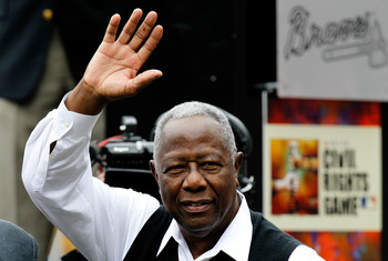 ATLANTA, GA - MAY 15:  Hall of Famer Hank Aaron is honored prior to the MLB Civil Rights between the Atlanta Braves and the Philadelphia Phillies at Turner Field on May 15, 2011 in Atlanta, Georgia.  (Photo by Kevin C. Cox/Getty Images)