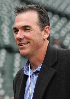 DETROIT - OCTOBER 13:  General Manager Billy Beane of the Oakland Athletics is seen on the field during warm-ups prior to the start of Game Three of the American League Championship Series of the Detroit Tigers October 13, 2006 at Comerica Park in Detroit