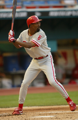MIAMI - APRIL 10:  Doug Glanville #6 of the Philadelphia Phillies bats during the game against the Florida Marlins at Pro Player Stadium on April 10, 2004 in Miami, Florida.  (Photo by Victor Baldizon/Getty Images)