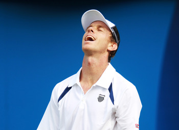 LONDON, ENGLAND - JUNE 07:  Sam Querrey of the United States reacts during his Men's Singles second round match against Rainer Schuettler of Germany on day two of the AEGON Championships at Queens Club on June 7, 2011 in London, England.  (Photo by Julian