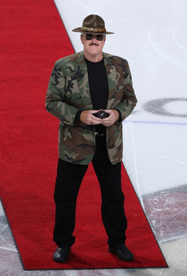 GLENDALE, AZ - NOVEMBER 05:  Professional wrestler Sgt. Slaughter prepares for the ceremonial puck drop before the NHL game between the Phoenix Coyotes and the Chicago Blackhawks at Jobing.com Arena on November 5, 2009 in Glendale, Arizona. The Coyotes de