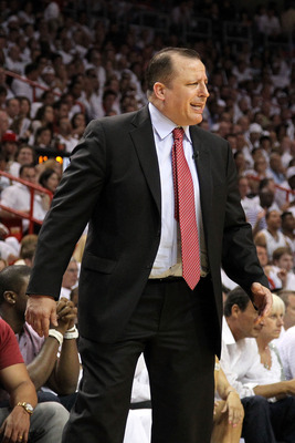 MIAMI, FL - MAY 24:  Head coach Tom Thibodeau of the Chicago Bulls looks on against the Miami Heat in Game Four of the Eastern Conference Finals during the 2011 NBA Playoffs on May 24, 2011 at American Airlines Arena in Miami, Florida. The Heat won 101-93