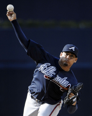 SAN DIEGO, CA - JUNE 25: Jair Jurrjens #49 of the Atlanta Braves pitches during the first inning of a baseball game against the San Diego Padres at Petco Park on June 25, 2011 in San Diego, California.  (Photo by Denis Poroy/Getty Images)
