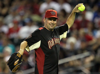 PHOENIX, AZ - JULY 10:  Former MLB player Mark Grace throws the ball during the 2011 Taco Bell All-Star Legends & Celebrity Softball Game at Chase Field on July 10, 2011 in Phoenix, Arizona.  (Photo by Jeff Gross/Getty Images)