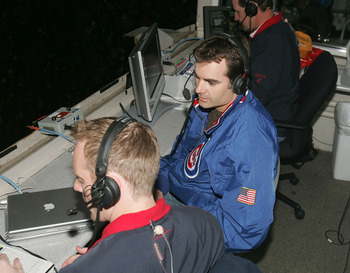 CHICAGO - MAY 24: NASCAR driver Jeff Gordon  (R) is interviewed by Chicago Cubs announcers Len Kasper (L) and Bob Brenley (R) during the seventh inning of a game between the Cubs and the Houston Astros on May 24, 2005 at Wrigley Field in Chicago, Illinois