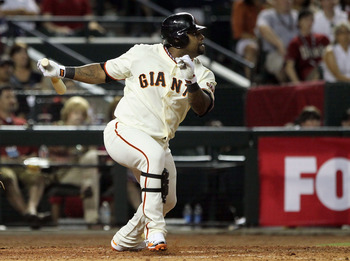 PHOENIX, AZ - JULY 12:  National League All-Star Pablo Sandoval #48 of the San Francisco Giants hits a double in the seventh inning of the 82nd MLB All-Star Game at Chase Field on July 12, 2011 in Phoenix, Arizona.  (Photo by Jeff Gross/Getty Images)