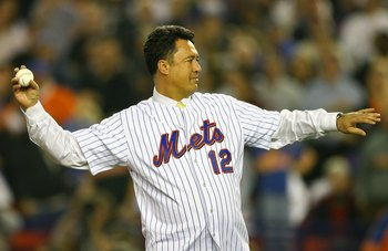 NEW YORK - OCTOBER 19:  Ron Darling formerly of the New York Mets throws out the first pitch of game seven of the NLCS against the St. Louis Cardinals at Shea Stadium on October 19, 2006 in the Flushing neighborhood of the Queens borough of New York City.