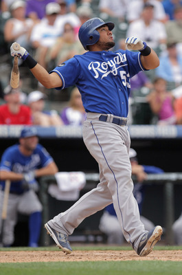 DENVER, CO - JULY 03:  Melky Cabrera #53 of the Kansas City Royals takes an at bat against the Colorado Rockies during Interleague play at Coors Field on July 3, 2011 in Denver, Colorado. The Royals defeated the Rockies 16-8.  (Photo by Doug Pensinger/Get